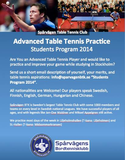 Advanced table tennis player